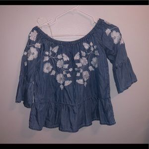 demin embroidered top
